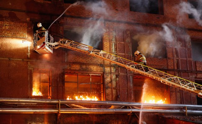 Firefighters fighting a fire