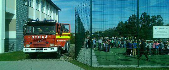 Próbna ewakuacja w Zespole Szkół na Mystkowie.